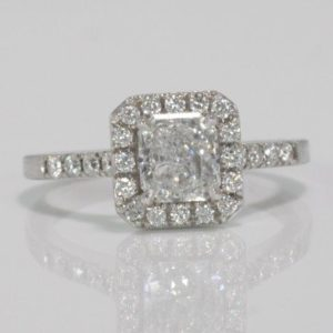1.01 CARAT SQUARE RADIANT CUT DIAMOND  ENGAGEMENT RING