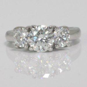 1.21 CARAT ROUND BRILLIANT CUT DIAMOND PLAT.  ENGAGEMENT RING