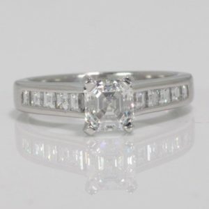 1.04 CARAT SQUARE EMER. CUT DIAMOND PLAT. ENGAGEMENT RING